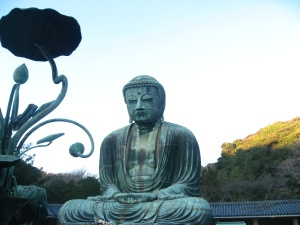 Daibutsu with lotus pods in the foreground