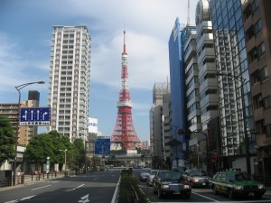 Tokyo tower seen from the road in front of my office